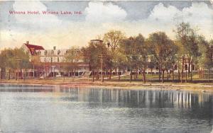 Winona Lake Indiana~Winona Hotel View (From Lake)~Note on Back~1912 Postcard