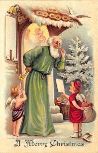 Christmas Santa Claus Green Robed Angels Dove Embossed Postcard