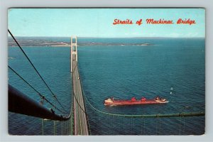 Mackinac MI- Michigan, Straits of Mackinac Bridge, Chrome c1966 Postcard