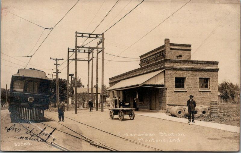 Mentone Indiana~Interurban Trolley Station~Train Depot~1914 CR Childs RPPC 33504