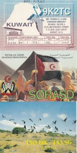 Somali Democratic Republic Kuwait 2x Radio QSL Card + Ephemera