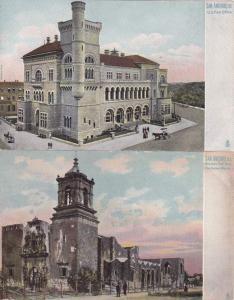 (2 cards) Post Office and Mission San Jose - San Antonio TX, Texas - UDB