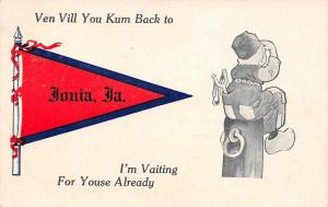 I'm Vaiting for Youse Already in Ionia Iowa~Boy on Lookout~1913 Pennant PC