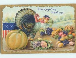 Pre-Linen patriotic thanksgiving USA FLAG WITH TURKEY AND PUMPKIN HJ2987