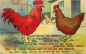 Rooster-Hen dialogue comic illustration Postcard