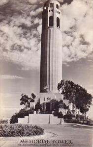 Memorial Tower Telegraph Hill San Francisco Calfornia Real Photo