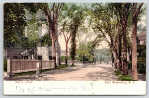 East Greenwich Rhode Island~Pierce Street~Fence on Left~1906 Postcard
