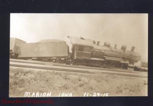 RPPC MARION IOWA RAILROAD TRAIN TRAINWRECK VINTAGE REAL PHOTO POSTCARD 1915