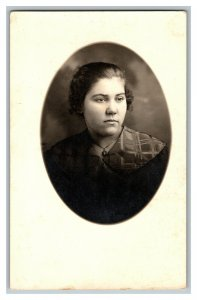 Serious Looking Young Woman In Dress Vintage Standard View Real Photo Postcard
