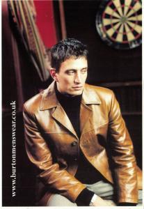 1990s Burton Menswear Tan Leather Jacket Advertising Postcard, Fashion 17U
