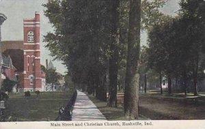Indiana Rushville Main Street and Christian Church 1911