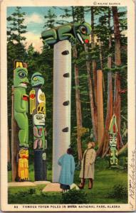 Famous Totem Poles Alaska Sitka National Park Vintage Postcard N06
