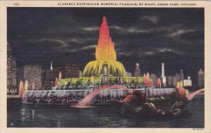 Illinois Chicago Clarence Buckingham Memorial Fountain At Night In Grant Park...