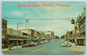 McCook Nebraska~Main Street~FW Woolworth~A&M Luncheonette~Hardware~1950s Cars