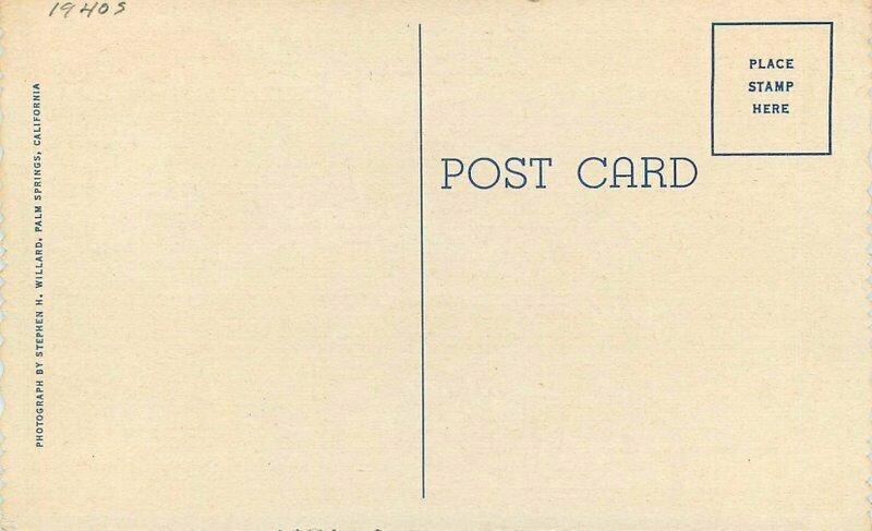 Desert Inn roadside Palm Springs California Dining Willard 1940s Postcard 11148