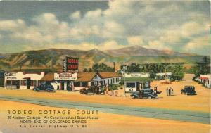 Denver Colorado Gas Station 1952 Rodeo Cottage Court Postcard Teich 4013