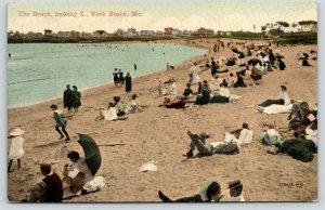 York Beach Maine~Fully Dressed Victorians Crowd Beach~2 Bathing Beauties~1910