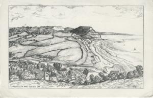 Charmouth & Golden Cap Dorset England UK Artist Signed? Drawing Postcard D18