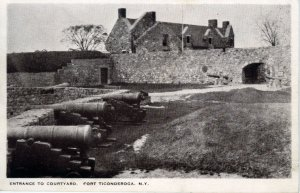 [ Velva-Tone ] US NY Fort Ticonderoga - Another Entrance To Courtyard (B/W)