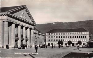 BIEL/BIENNE SWITZERLAND LA GARE et la POSTE~O SARTORI PHOTO POSTCARD 1930s