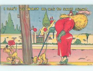 Unused Linen comic FAT WOMAN WALKING HER DOG o7951
