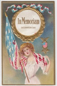 DECORATION DAY, 1900-10s; In Memoriam, Woman holding U. S. Flag, Medal, 1900-10s
