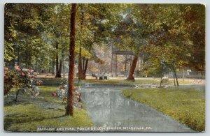 Meadville Pennsylvania~Ponce De Leon Springs~Pavilion & Pond~Rose Bushes~c1910