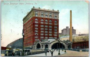 Pittsburg, Pennsylvania Postcard Union Passenger Station Railroad Depot 1906