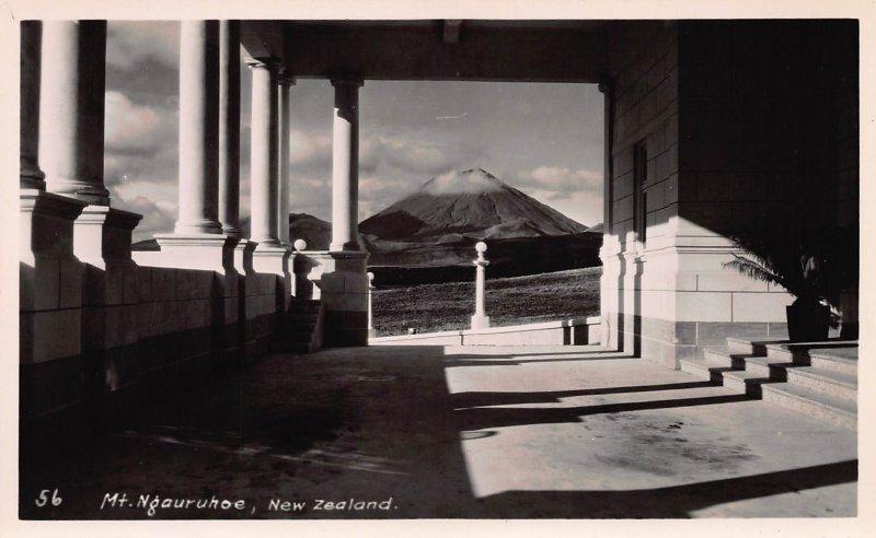 Mt. Ngauruhoe, New Zealand, Early Real Photo Postcard, Unused