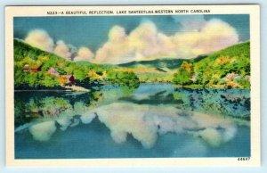 2 Postcards WESTERN NORTH CAROLINA, NC ~ Dam & Reflection LAKE SANTEETLAH 1940s