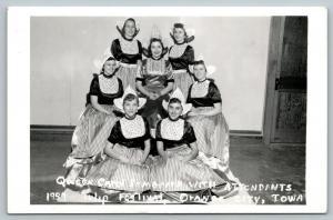 Orange City Iowa~Tulip Festival~Queen Carol Bomgaars with Attendants~1957 RPPC
