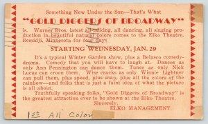 Bemidji Minnesota~Elko Theatre~Gold Diggers of Broadway Ad~1930 Postcard