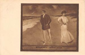 Lou Mayer~Stormy Weather~Elegant Victorian Couple in Fight On Beach~1909 PC