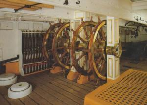 HMS Warrior Main Deck Steering Wheel Ship Interior Postcard