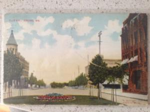 1910 ASHLAND Wisconsin WI Postcard ELLIS Ave County Businesses green space