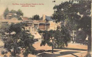 Ashland Oregon Masonic Temple Plaza Antique Postcard K32474