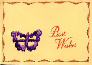 Greeting - Best Wishes. Embroidered Butterfly and Border