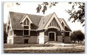 Postcard City Library, Durand, Wisconsin WI  KRUXO 1909 RPPC H14
