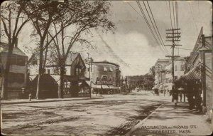 Dorchester MA Washington & Harvard Sts. c1910 Postcard
