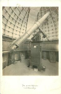 Lick Observatory Telescope 36 Refractor, Interior View, CA Real Photo Postcard