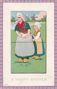 EASTER; Dutch Girls holding potted Daisy Flower, Windmill, 00-10s