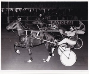 RP; SARATOGA SPRINGS, New York, 1976, MATT HILL Wins Harness Horse Race