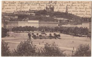 France, LYON, La Place Bellecour et le Coteau de Fourviere, 1927 used Postcard