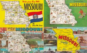 Missouri Greetings From 4x Map Postcard s