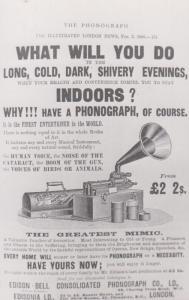 Edison HMV Antique Old Phonogram Gramophone Player Repro Advertising Postcard