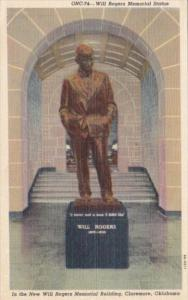 Oklahoma Claremore Will Rogers Memorial Statue Will Rogers Memorial Building ...