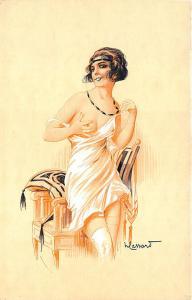 Artist H. Lassart Beautiful Partial Nude Woman Chair Postcard