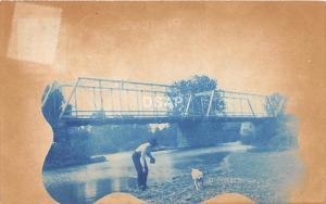 Ohio Postcard Real Photo RPPC 1909 WILLIAMSPORT Man Dog BRIDGE River Circleville