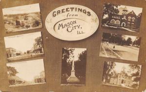 Mason City Illinois~Multi Mini Vw~Birdseye~Main Street~Tennis~Monument~1908 RPPC