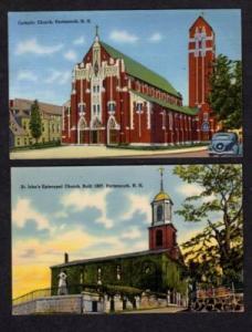 NH Lot 2 Church PORTSMOUTH NEW HAMPSHIRE Postcard Linen